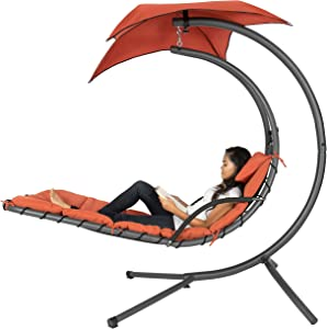 Best Choice Products Outdoor Hanging Curved Chaise Lounge Chair Swing for Backyard, Patio w/ Built-In Pillow, Removable Canopy, Stand - Orange