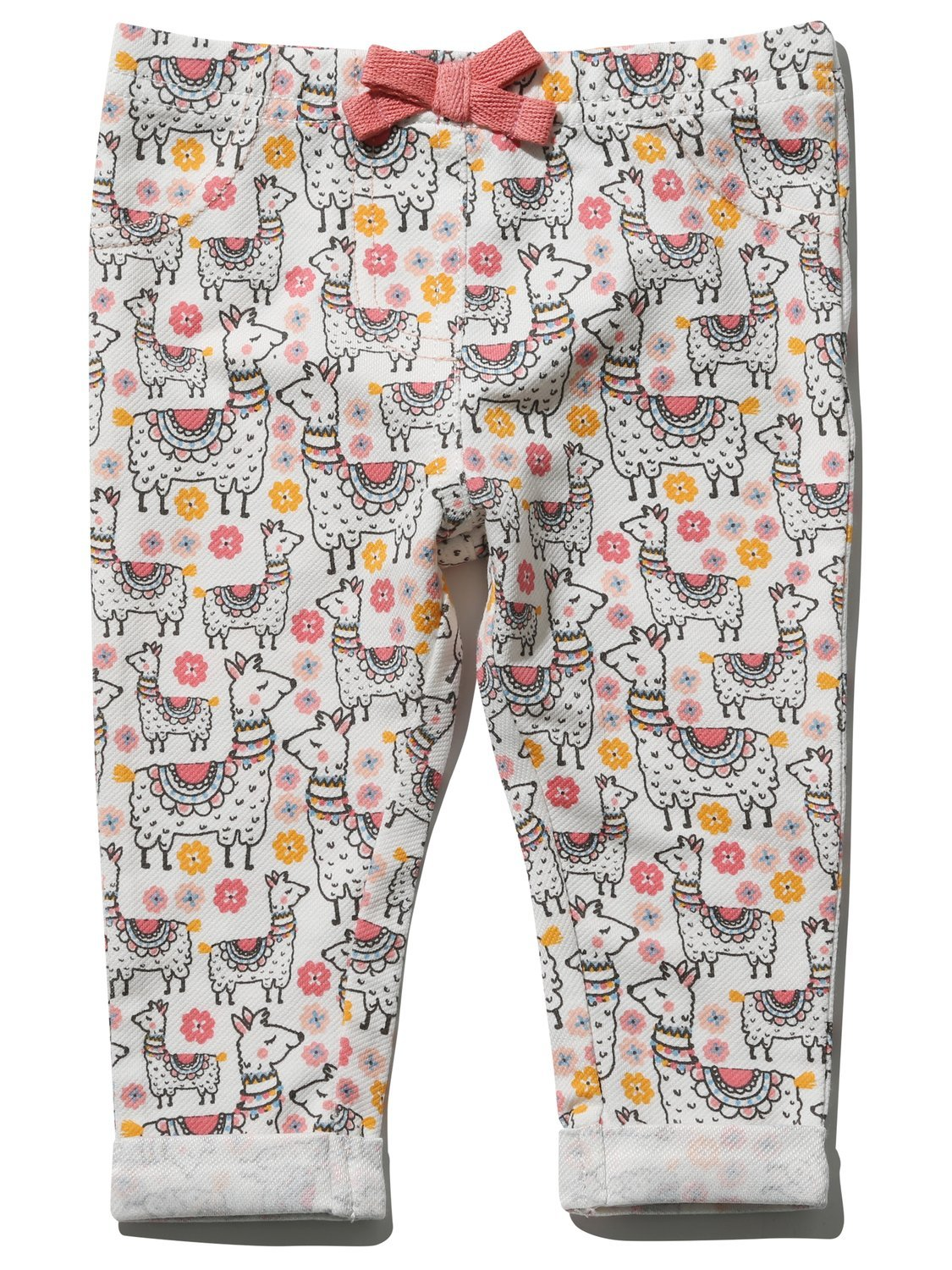 M&Co Baby Girl 100% Cotton Llama Print Pink Bow Stretch Waistband Turn up Jeggings