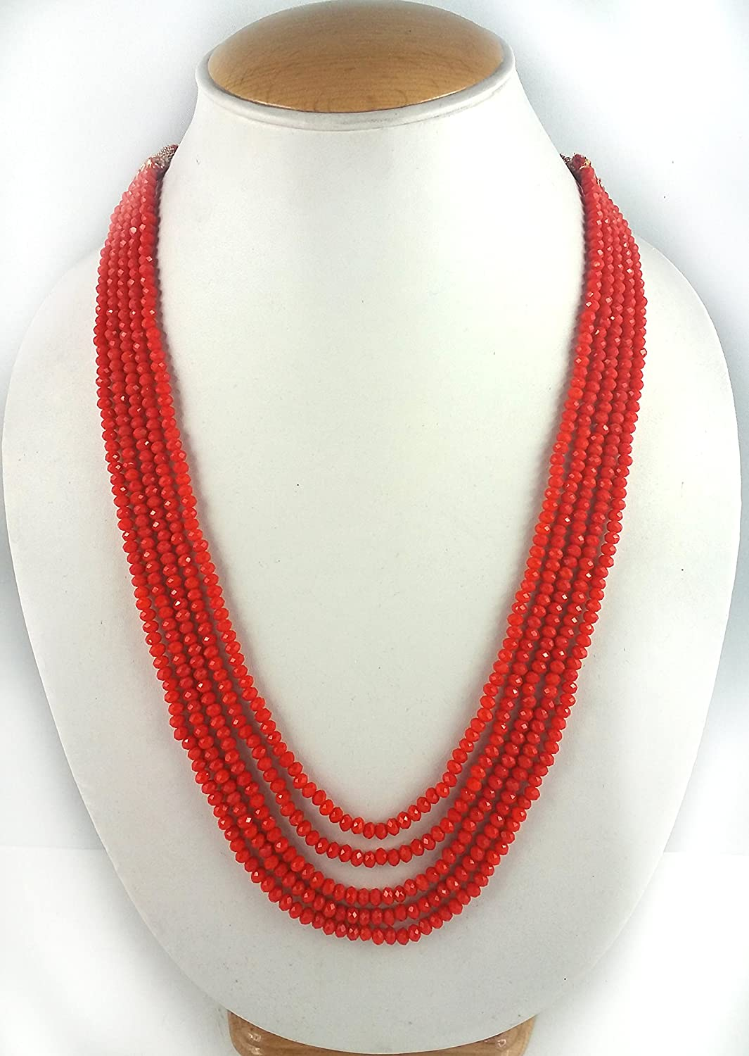 Five Layer Orange Color Crystal Beads Necklace