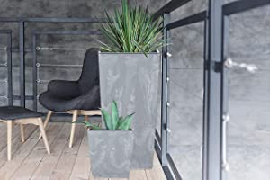 Kasamodern Modern Pot Insert Planter, Large, Gray Cement
