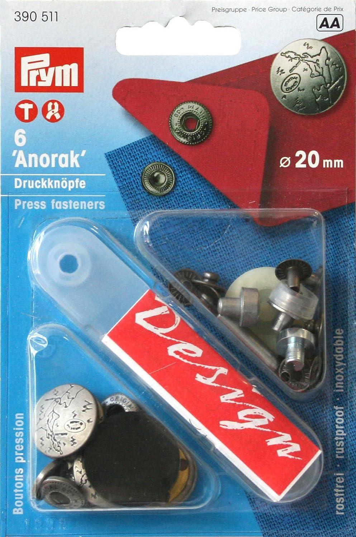 PRYM Anorak Druckknopf Druckknöpfe 20mm alteisen 390376