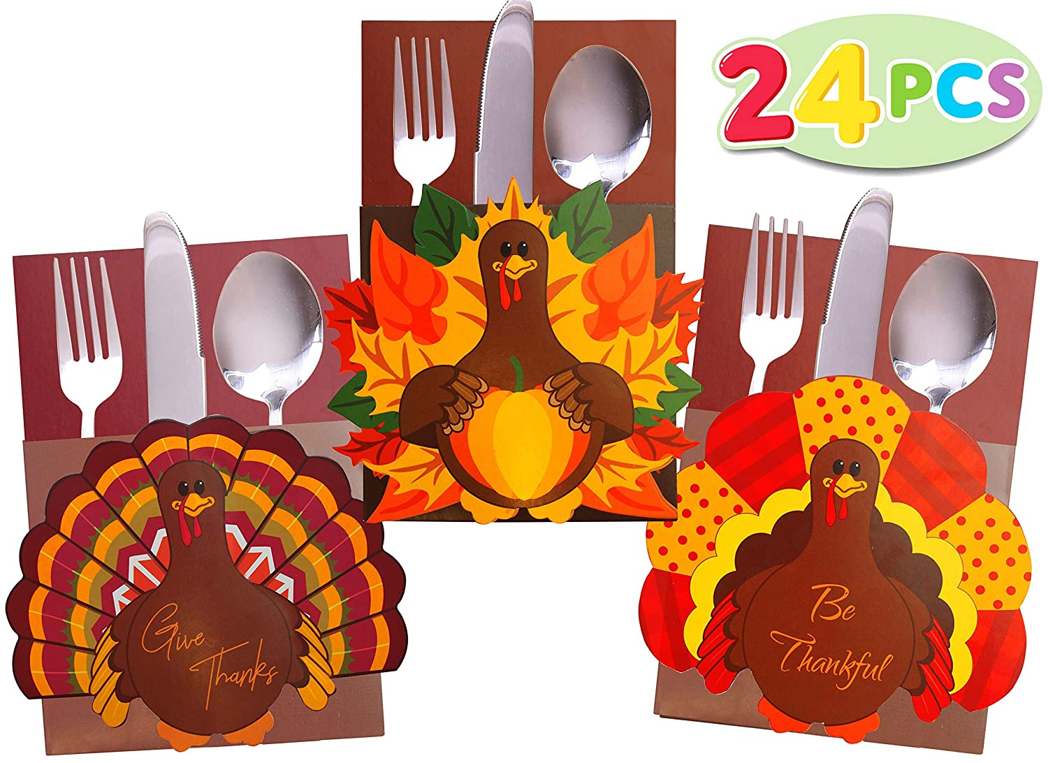 JOYIN 24 Count Thanksgiving Cutlery Holder Set Thanksgiving Turkey Utensil Décor, Autumn Fall Harvest Party Favor Supply Table Decoration, Thank You Cards. Joyin Inc