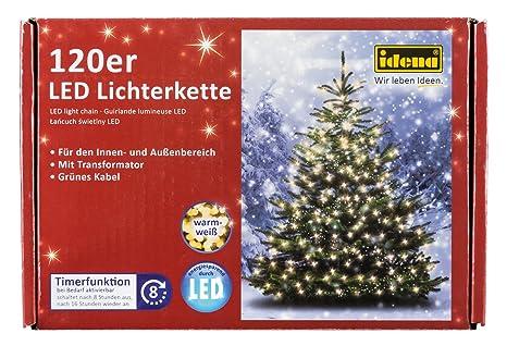 Ideen Weihnachtsbeleuchtung Außen.Idena Led Lichterkette Mit Timerfunktion 120er Warm Weiß Für Außen 8325097