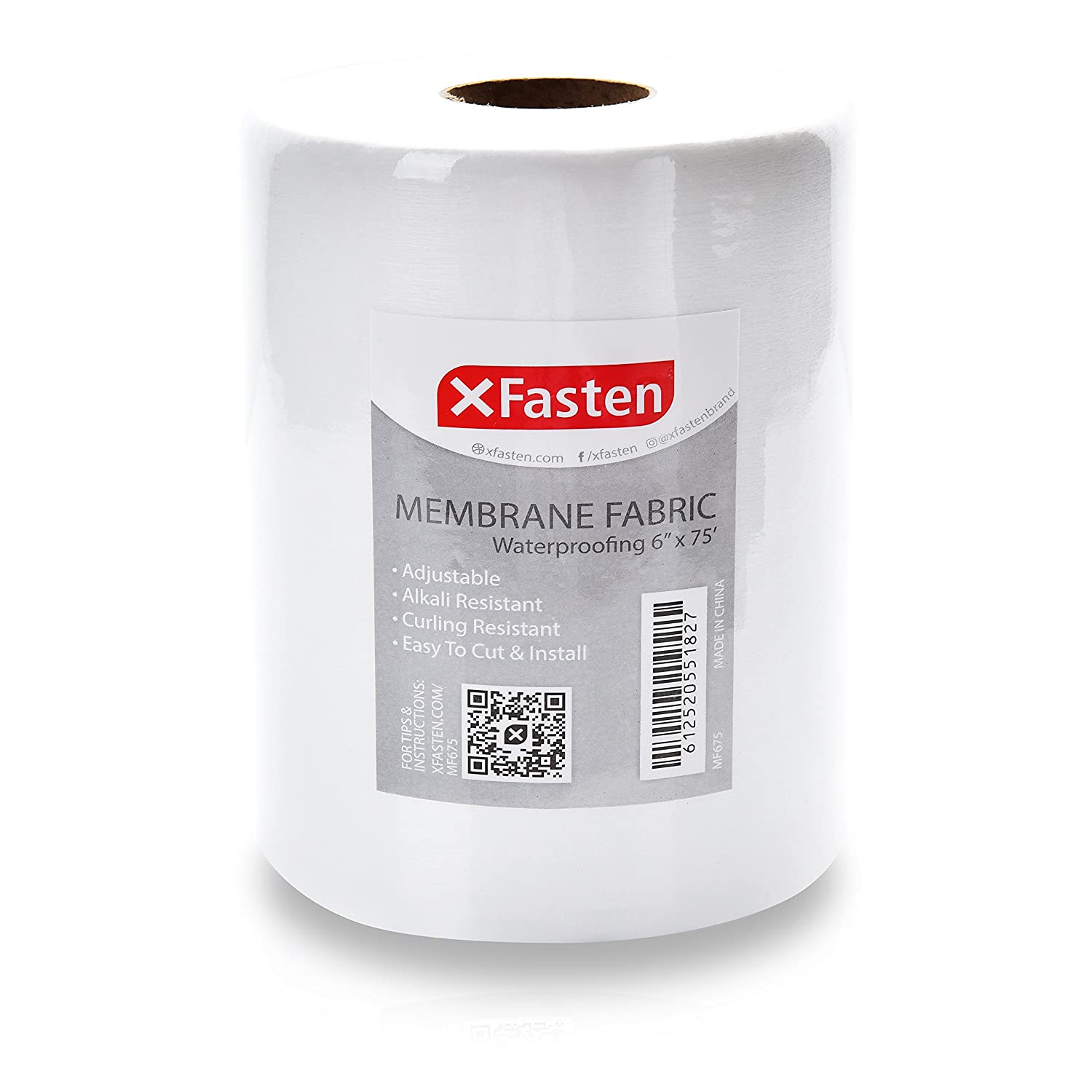 XFasten Fiberglass Waterproofing Anti Fracture Membrane Fabric Tape 6 Inch x 75 Foot Water Barrier Mesh Tape for Shower Walls and Tiles