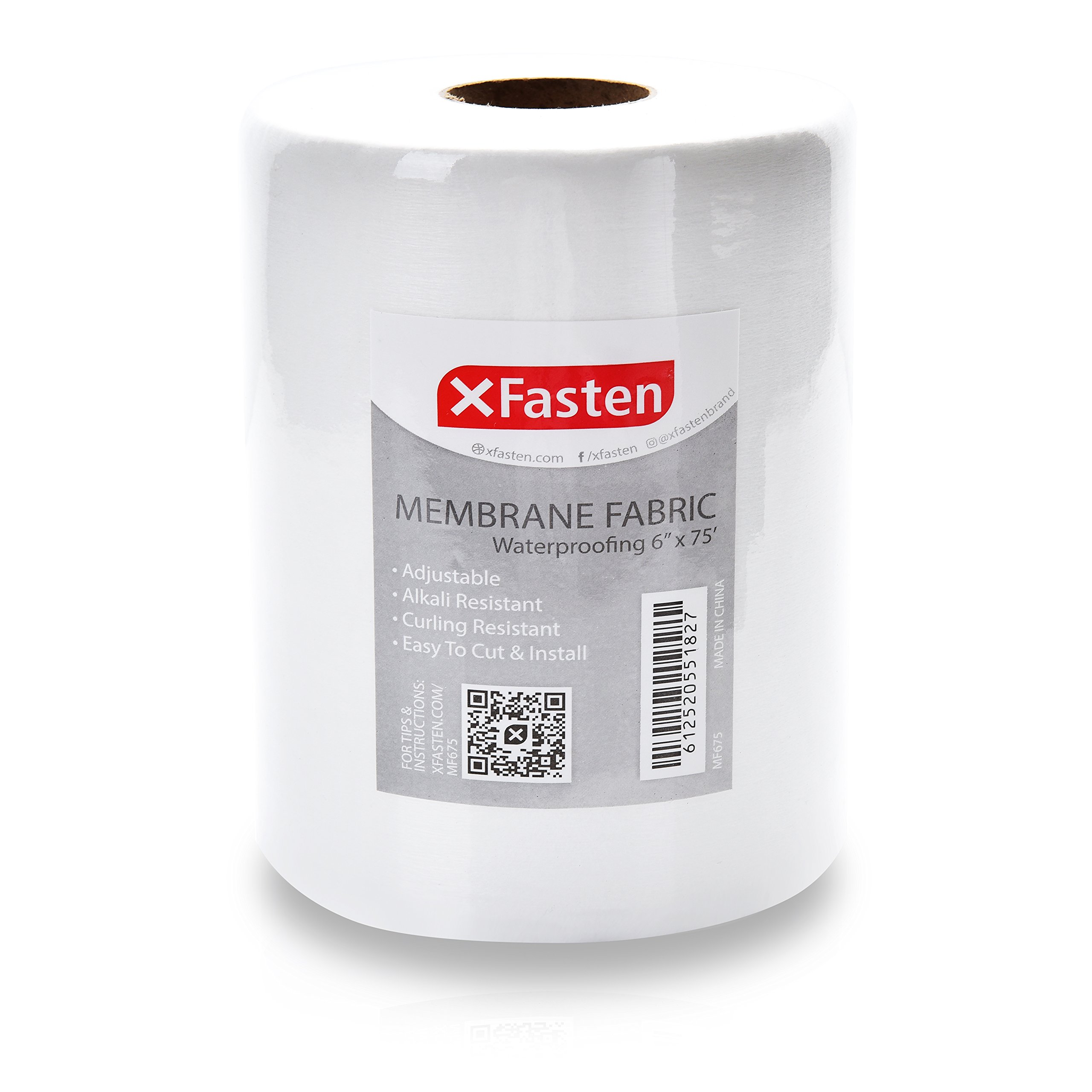 XFasten Fiberglass Waterproofing Anti-Fracture Membrane Fabric Tape, 6-Inch x 75-Foot, Water Barrier Mesh Tape for Shower Walls and Tiles