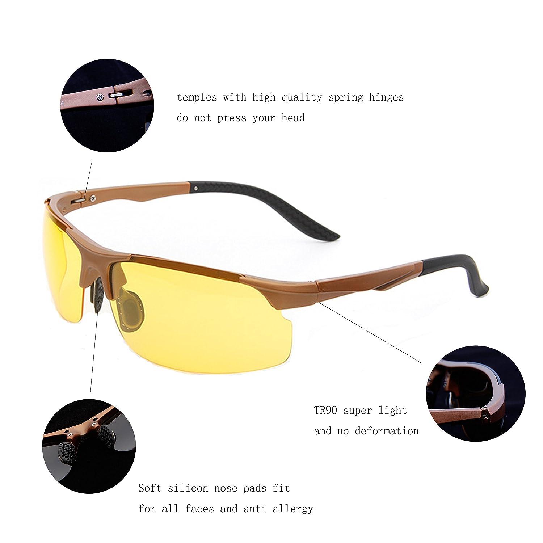 6cb4c3949ba Amazon.com  Laura Fairy New Design HD Night Vision Flexible Temple TR90  Frames Sunglasses-black (A1-Brown frame Night Vison lens)  Clothing