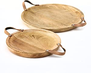 WHW Whole House Worlds Mango Wood Board Server Trays, Set of 2, Brown Leather Handles, Rustic Rounds, 15 and 12 Inches Diameter