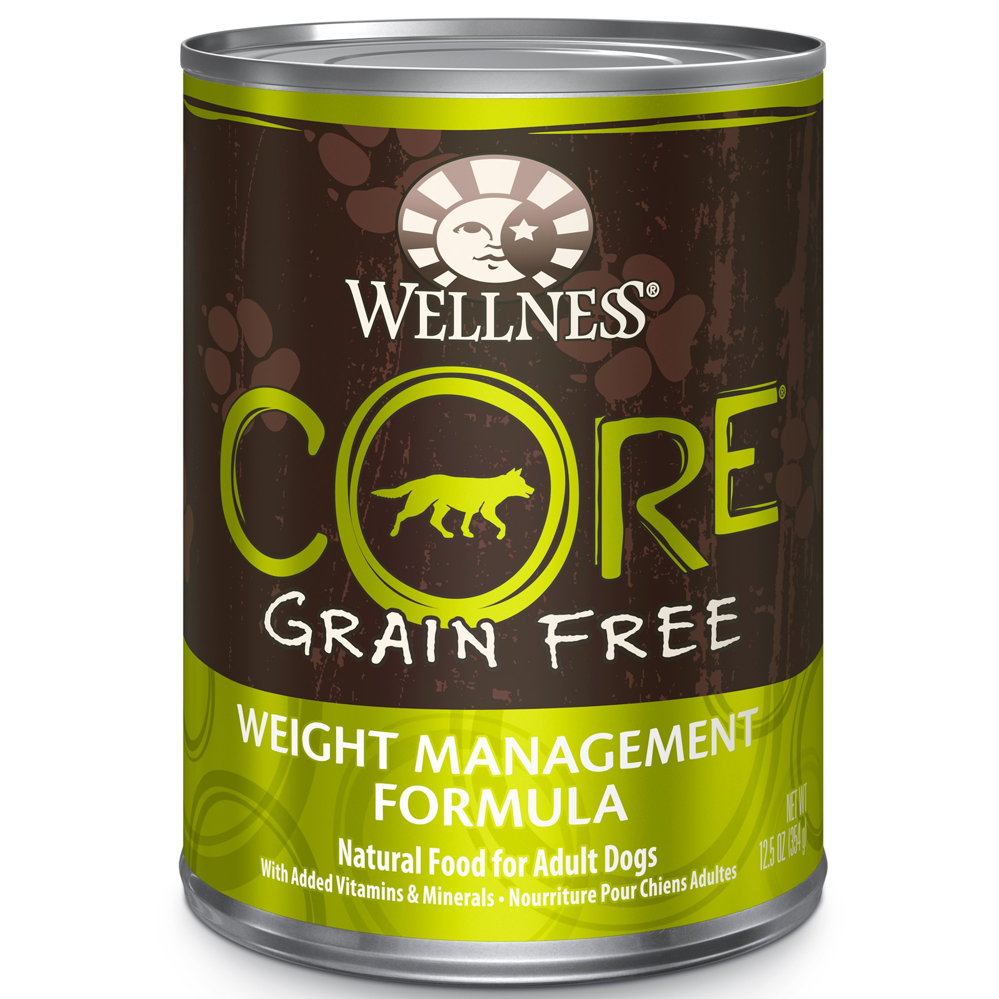 Wellness Core Natural Wet Grain Free Canned Weight Management Dog Food, 12.5-Ounce Can (Pack Of 12) by WELLNESS CORE