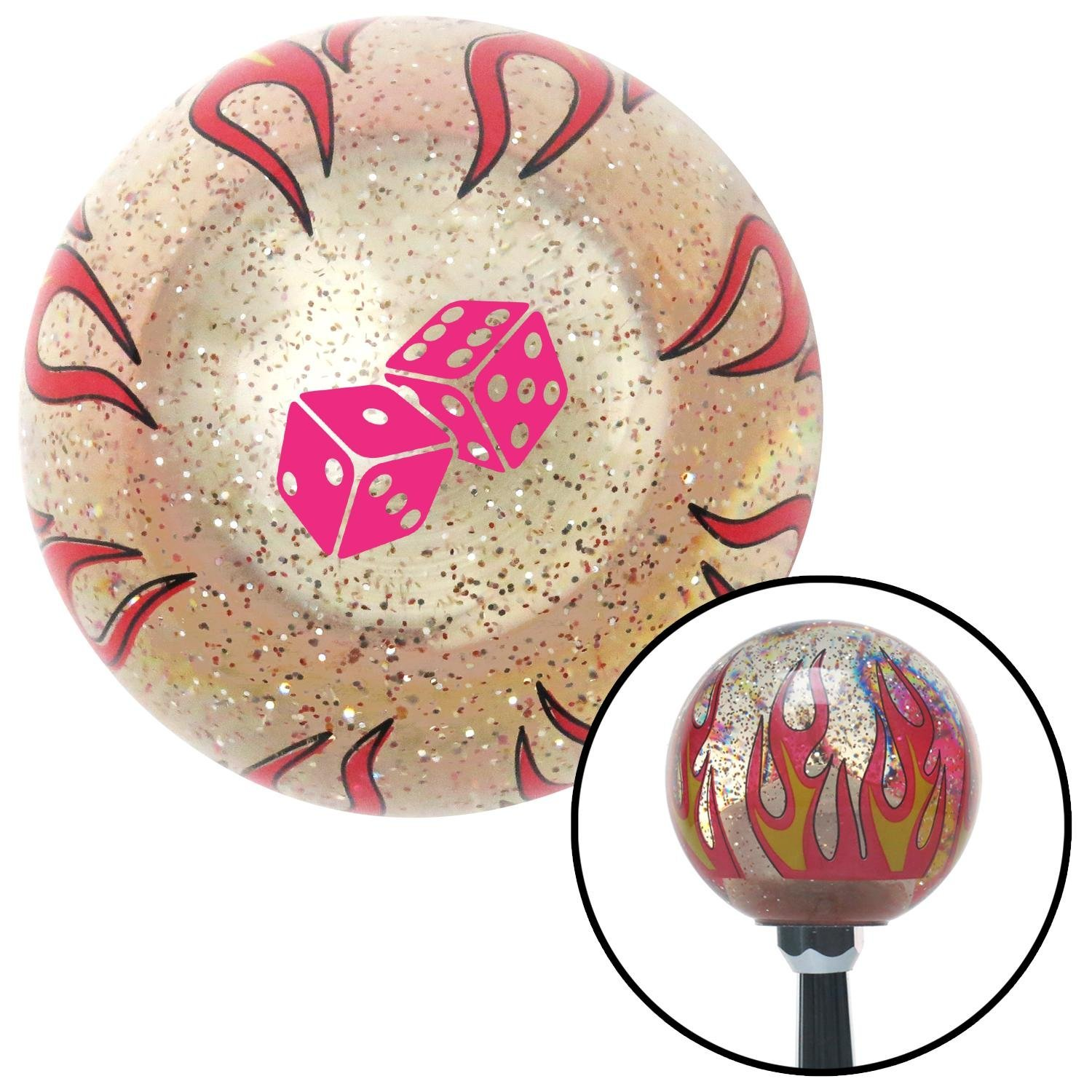 Pink Set of Dice Clear Flame Metal Flake with M16 x 1.5 Insert American Shifter 295449 Shift Knob