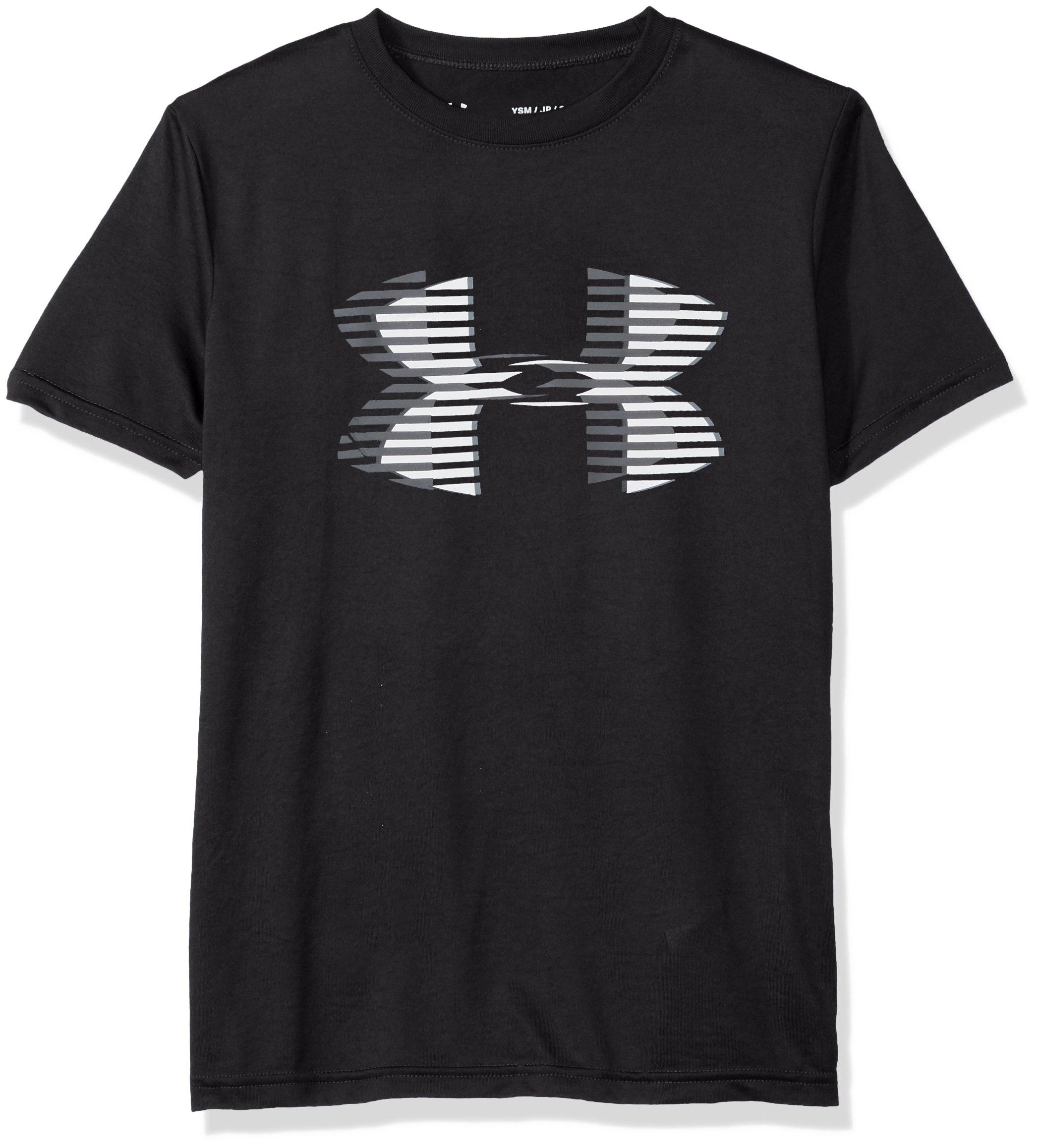 Under Armour Boys' Tech Big Logo Solid T-Shirt, Black (001)/Steel, Youth X-Small