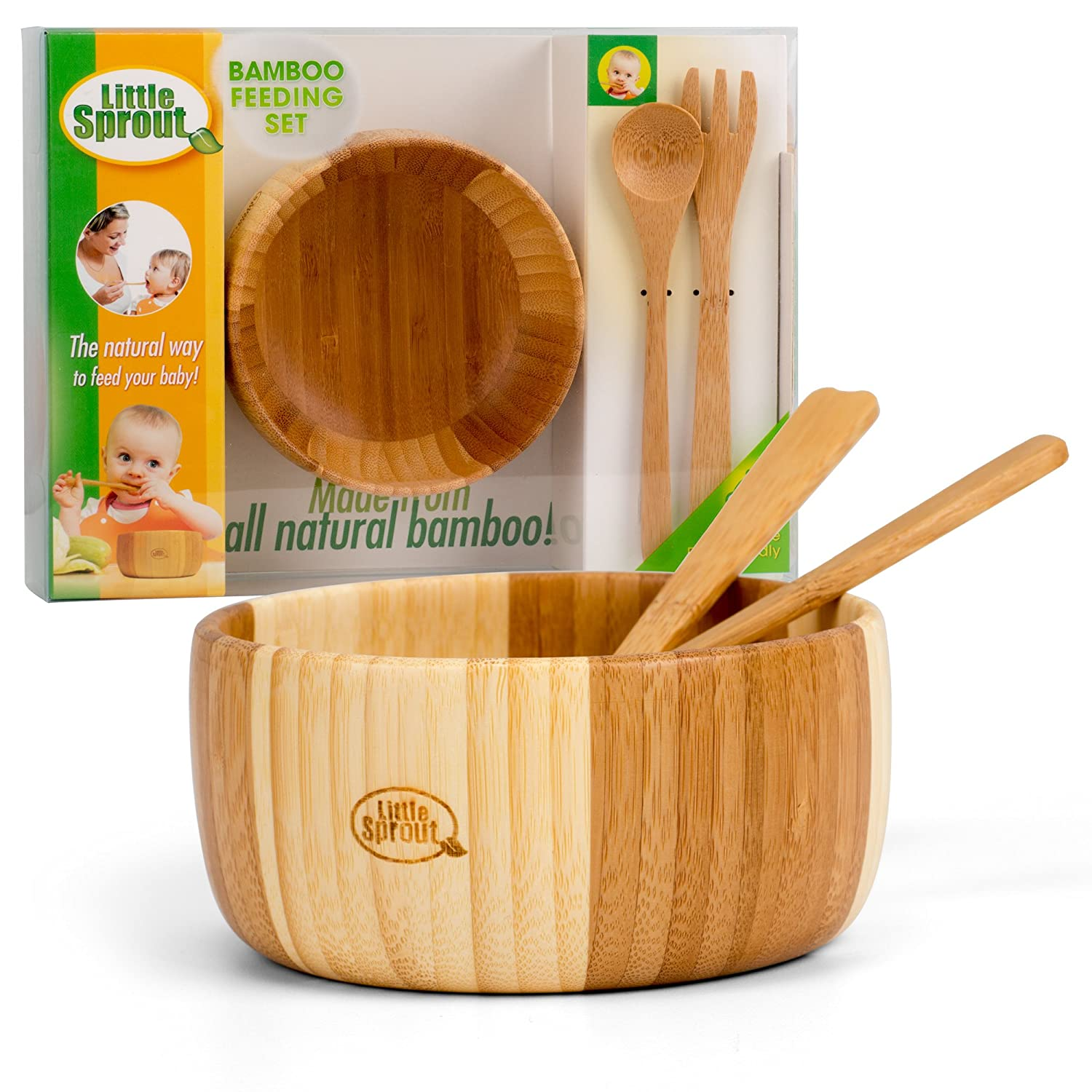 Bamboo Feeding Set 3pc includes Bowl, Spoon and Fork, BPA Free - Infant and Kid Friendly Little Sprout SPC-BFS-536