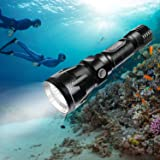 BlueFire Diving Torch, 1200 Lumen XM-L2 LED Bright Professional Scuba Flashlight Safety Lights with Hand Strap & Lanyard (Black)