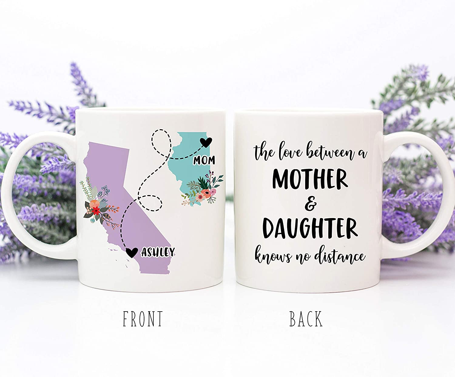 Taza de café The Love Between A Mother and Daughter Knows No Distance Regalo de larga distancia, regalo para el Día de la Madre