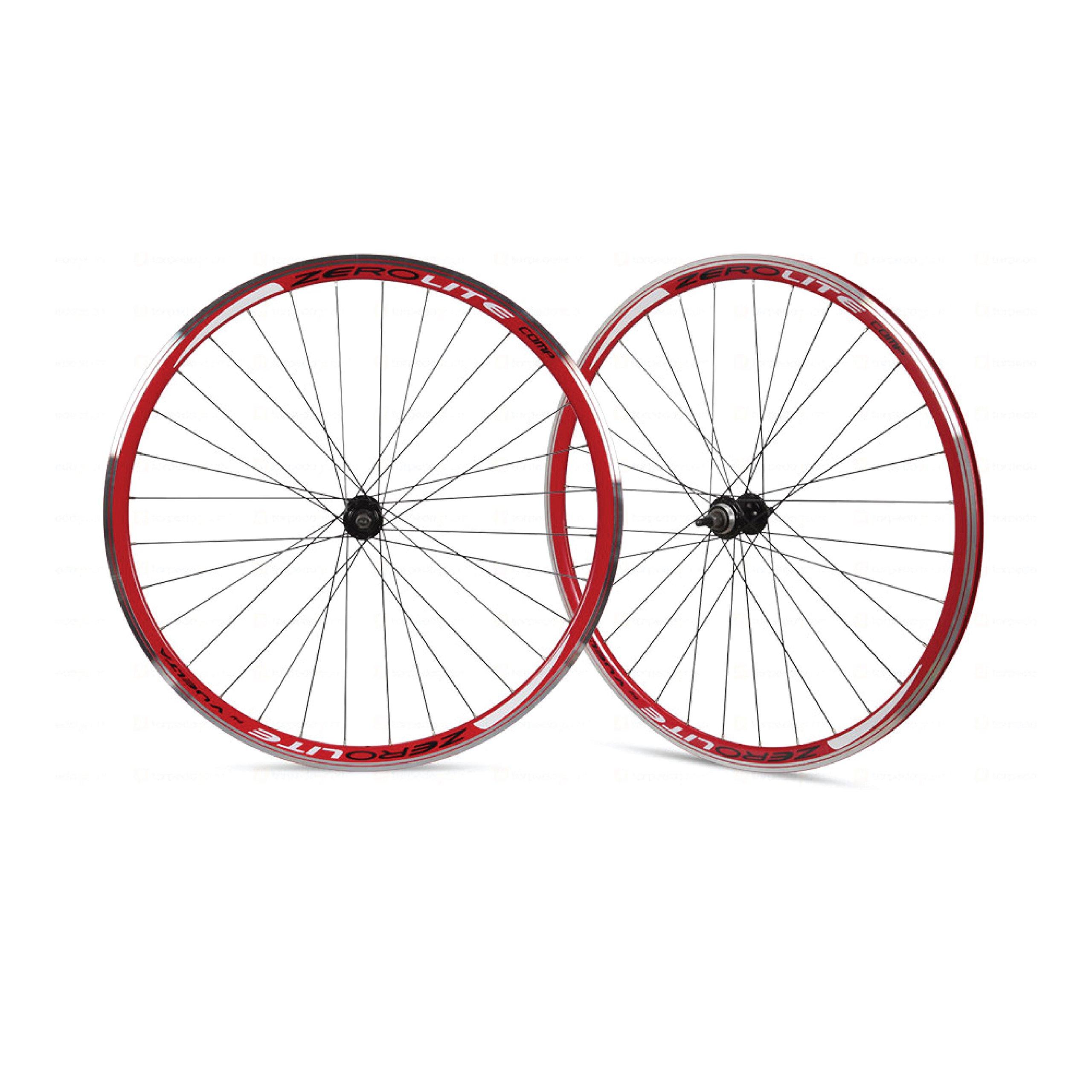 Vuelta ZeroLite Track Comp 700C Wheel Set (Red) by Vuelta