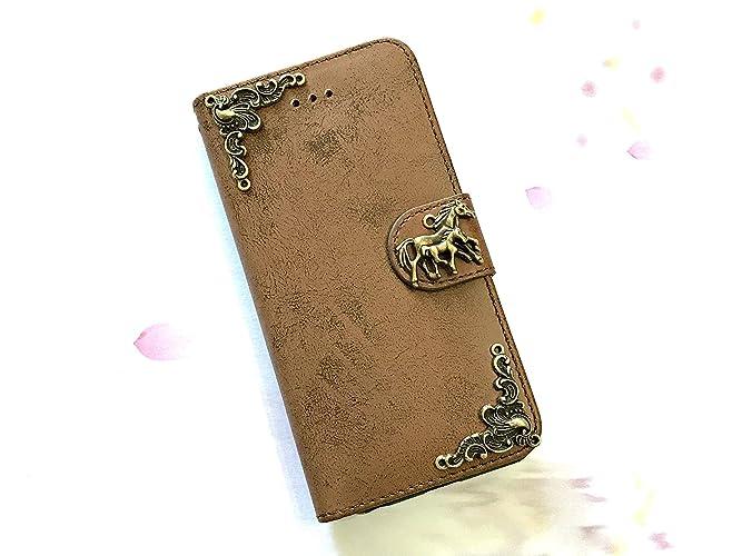 new york 39b47 e1168 Amazon.com: Horse phone removable leather wallet case, handmade ...