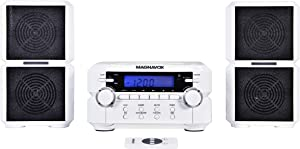 Magnavox MM435-WH 3-Piece Compact CD Shelf System with Digital AM/FM Stereo Radio, Bluetooth Wireless Technology, and Remote Control in White | LCD Display | AUX Port Compatible |