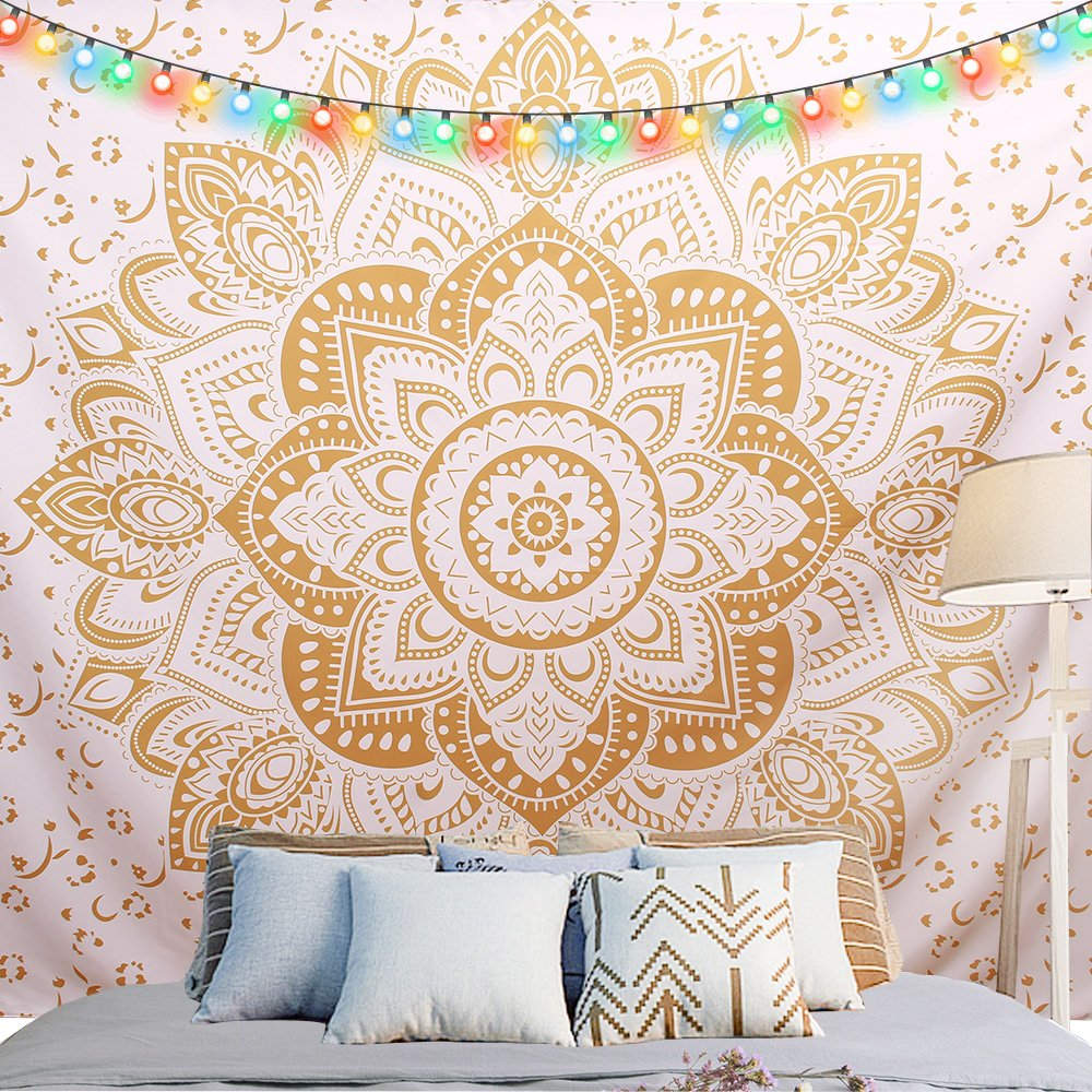Golden Bohemian Mandala Tapestry with NO-Fading Digital Printing Clear Patterns, Multiple Uses - Wall Hanging Art for Dorm D¨¦cor,82 X 59 inches by Greenpse