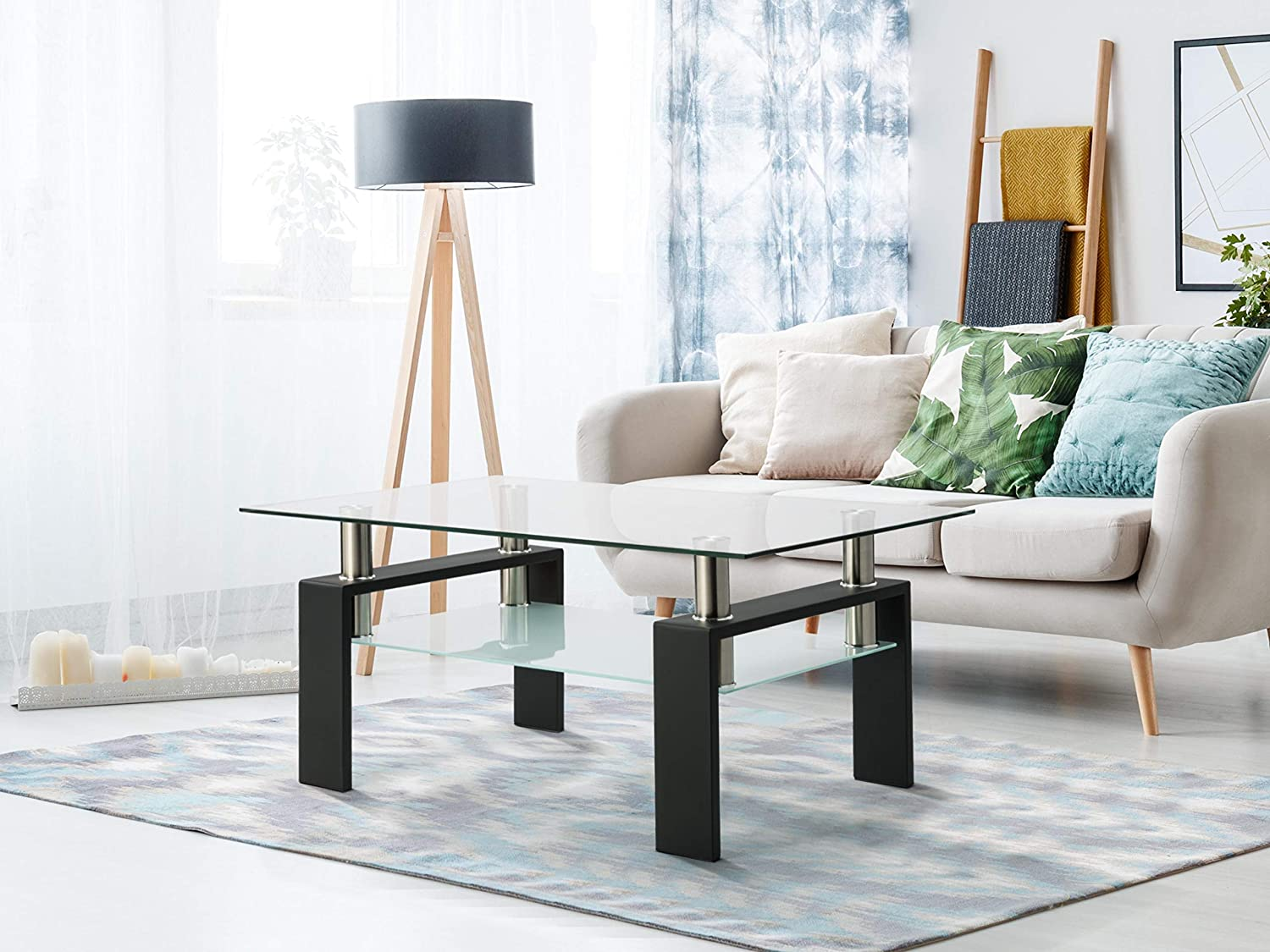 Goujxcy Rectangle Glass Coffee Table, Modern Living Room Table Clear Coffee Table with Lower Shelf Metal Legs, Cocktail Coffee Table Tea Rable Center Tables for Living Room Furniture