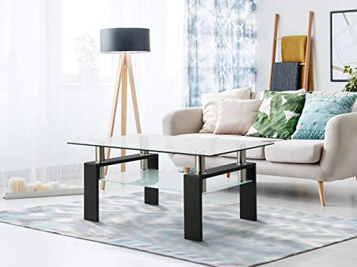MTFY Modern High Gloss Coffee Table Rectangle Tempered Glass Side End Table Tea Table