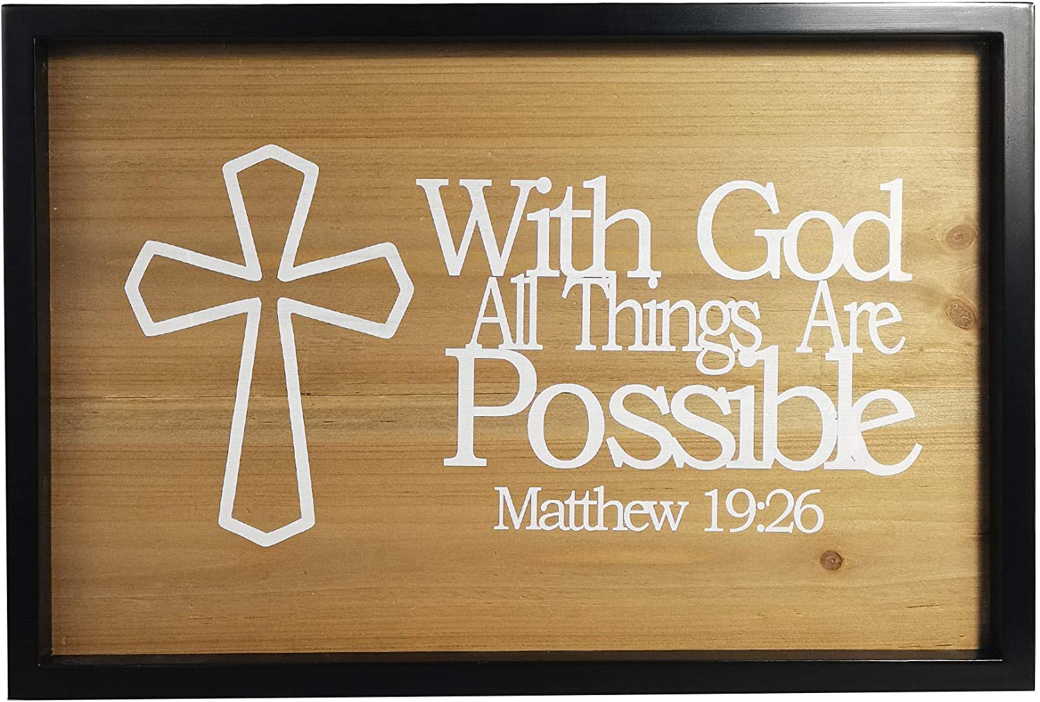 Inspirational Word Art, Christian Faith Biblical Verse Wall Sign, Hand-Made Wooden Decoration Plaque for Home, Office, Church – Real Wood – – 12x17 (with God All Things are Possible.)