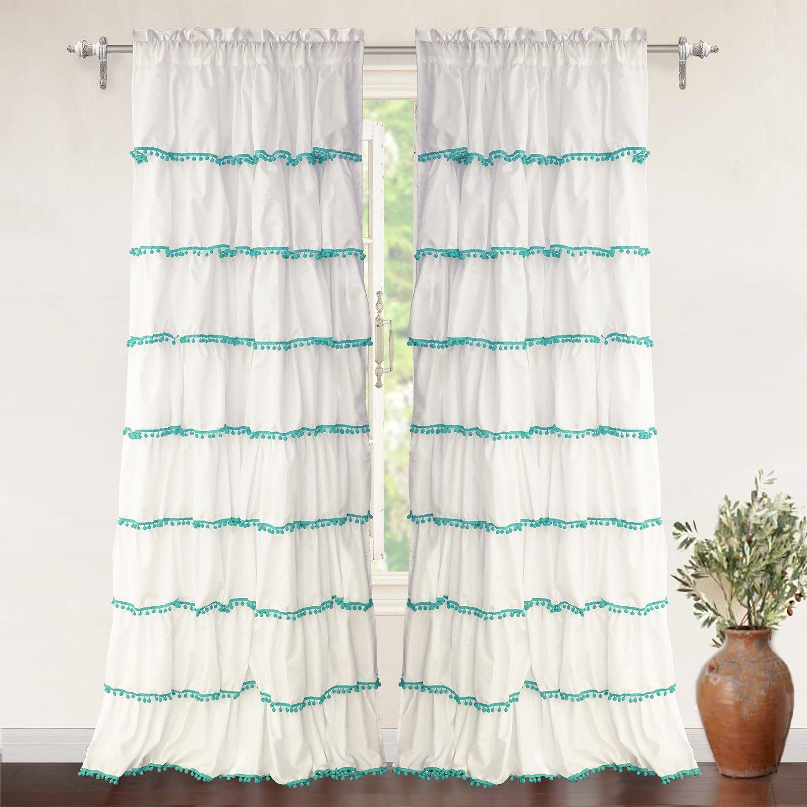 "DriftAway Pom Pom Ruffle Window Curtain for Kids Room, Single Panel, One Panel, 52""x84"" Plus 2'' Header (Aqua)"