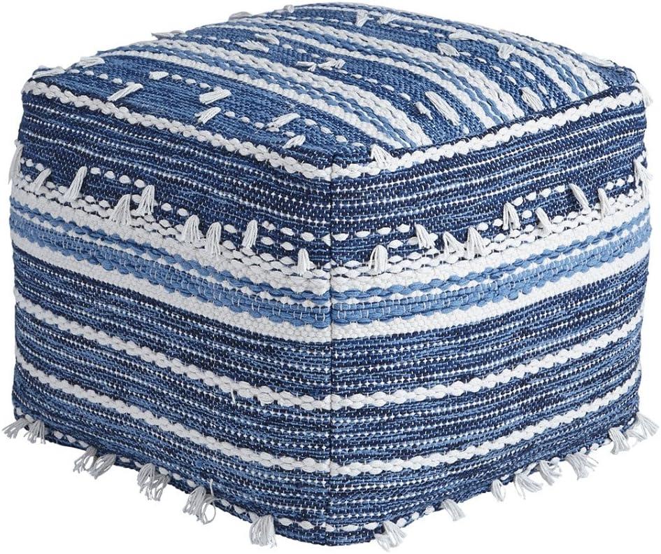 Ashley Furniture Signature Design - Anthony Pouf - Comfortable Footrest & Ottoman - Contemporary - Blue/White
