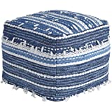 Ashley Furniture Signature Design - Anthony Pouf - Comfortable Footrest & Ottoman - Contemporary - Blue/White