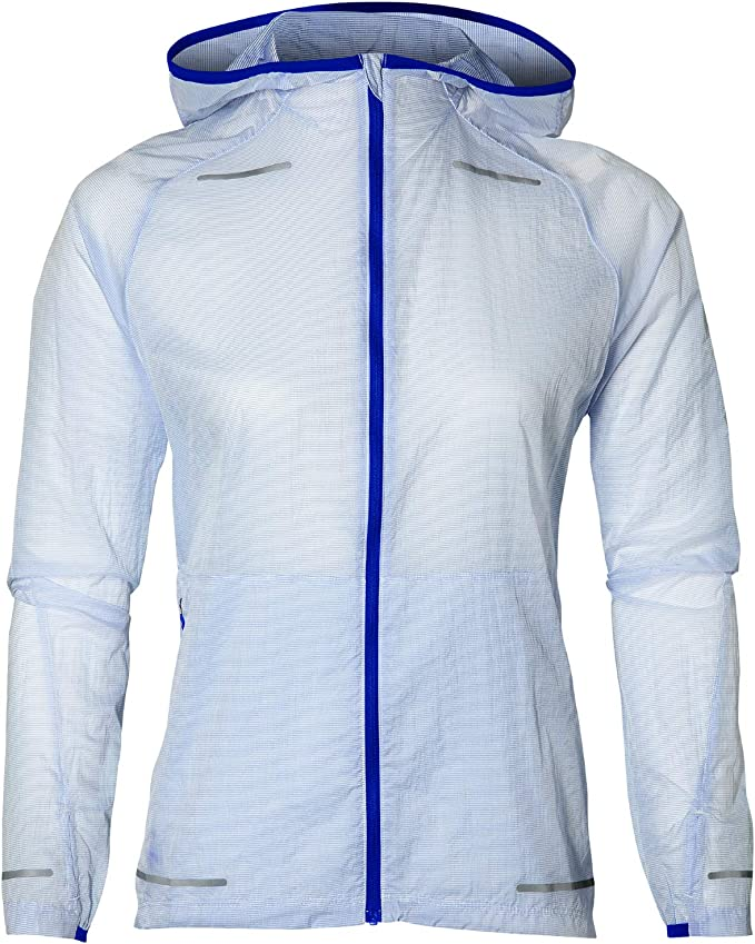 Asics Essentials Woven Mens Running Jacket Blue Full Zip Size Small