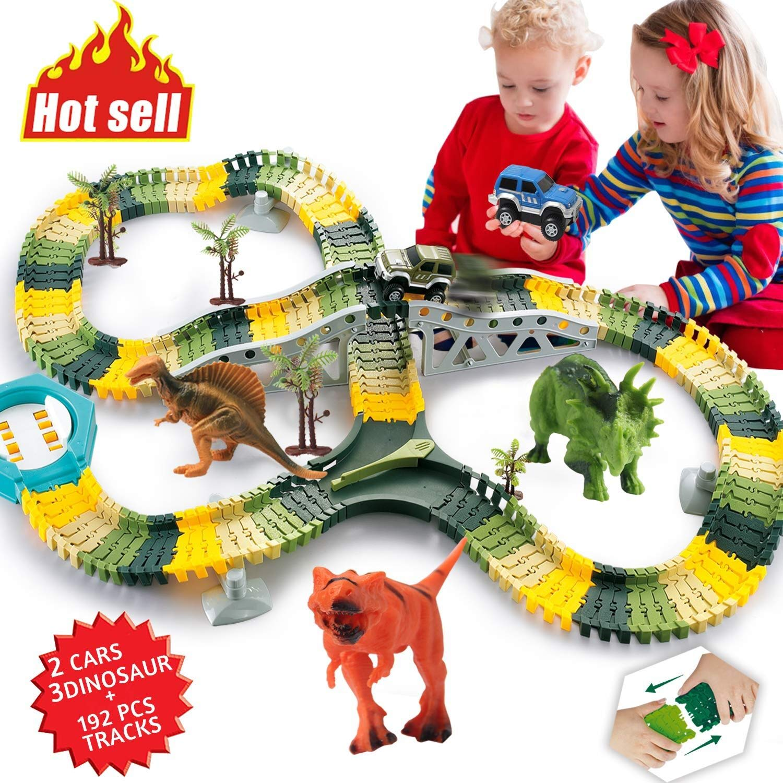 HOMOFY Dinosaur Toys 192Pcs Race Car Flexible Track Create A Road3 Dinosaurs2 Cars Vehicle PlaysetPerfect Birthday For 3 4 5 6 Year Old Boys And
