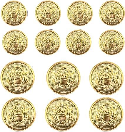 Uniform Meillia 14 Pieces Black Gold Metal Blazer Button Set 15MM 20MM for Blazers Black Gold Jackets Suits Sport Coats
