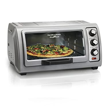 Hamilton Beach Countertop Toaster Oven Easy Reach with Roll-Top Door, 6-Slice & Auto Shutoff, Silver (31127D)
