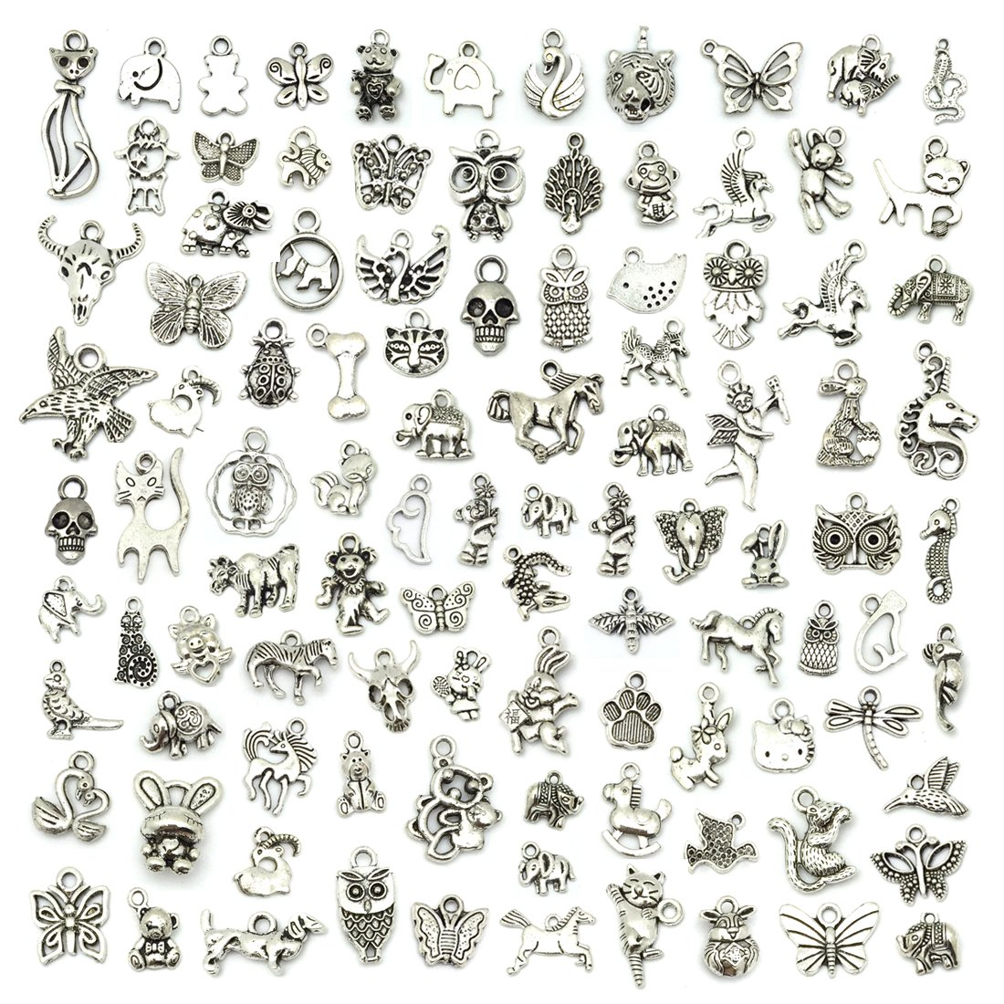 JIALEEY Wholesale 100 PCS Mixed No Repeated Silver Pewter Smooth Metal Charms Pendants DIY for Necklace Bracelet Dangle Jewelry Making and Crafting, Animal Charms LEEFUNAD 4336819510
