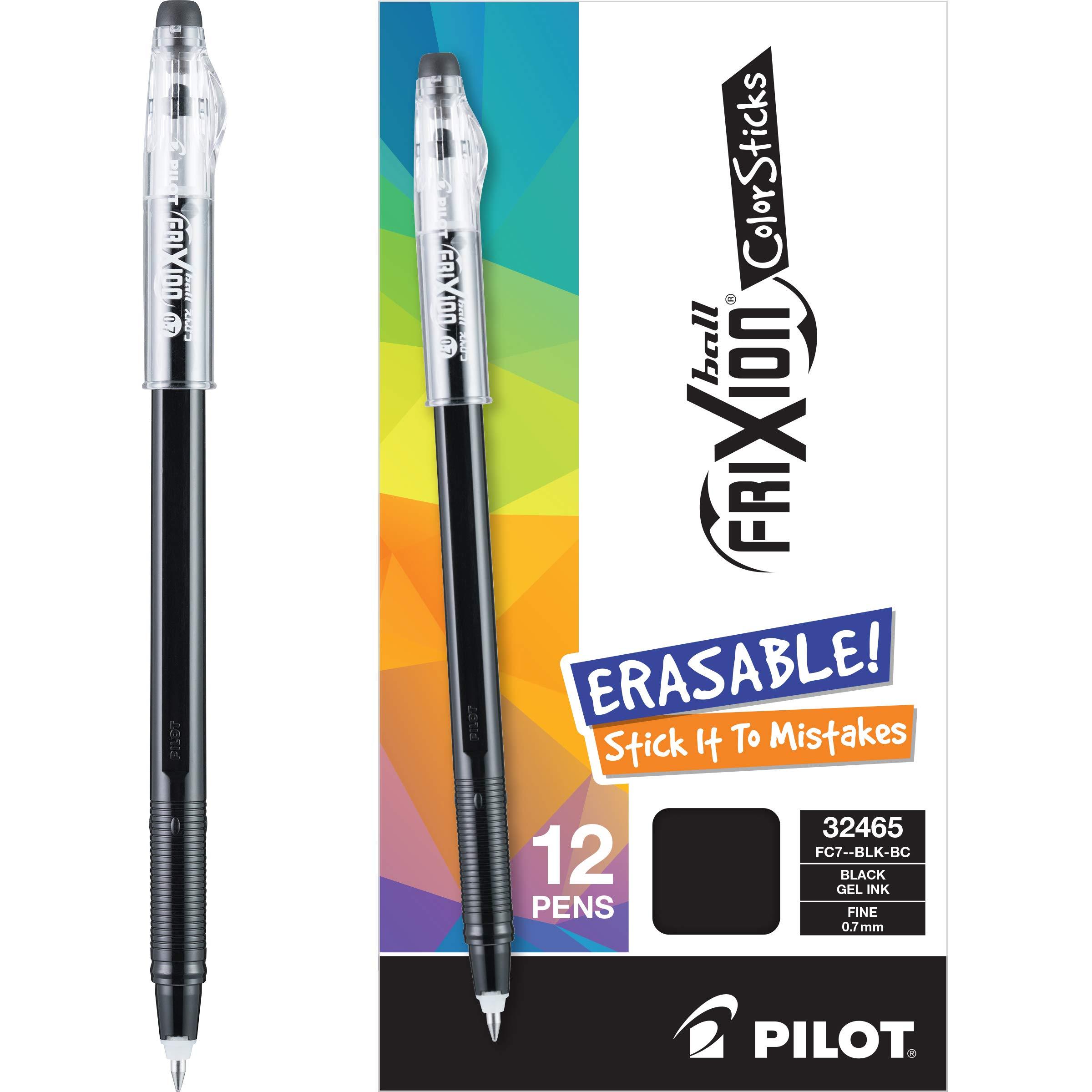 Pilot Frixion Colorsticks Erasable Gel Pens, Fine Point, Black Ink, Dozen Box (13219) by Pilot