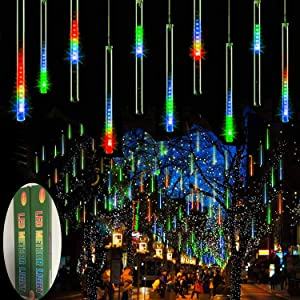 Zezuxy Meteor Shower Lights Multicolor, 144 LED Falling Rain Lights with 30cm 8 Tubes Falling rain Drop Christmas Lights, UL Listed Icicle Cascading Lights for Thanksgiving Party Holiday Wedding Trees