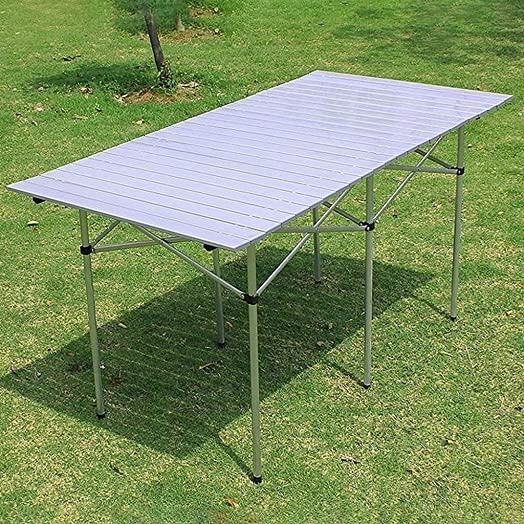 Xesvk Folding Table Indoor Outdoor Steel Frame Camp Folding Dining Table Portable Aluminum Picnic Table, Gathering Barbecue Table with Table Bag