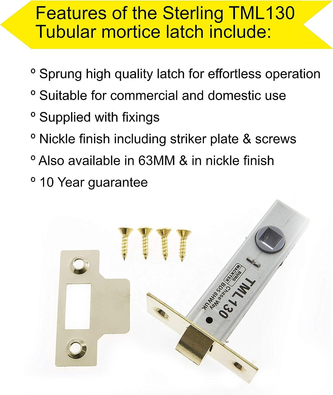 Brass Sterling TML125 63 mm Tubular Mortice Latch