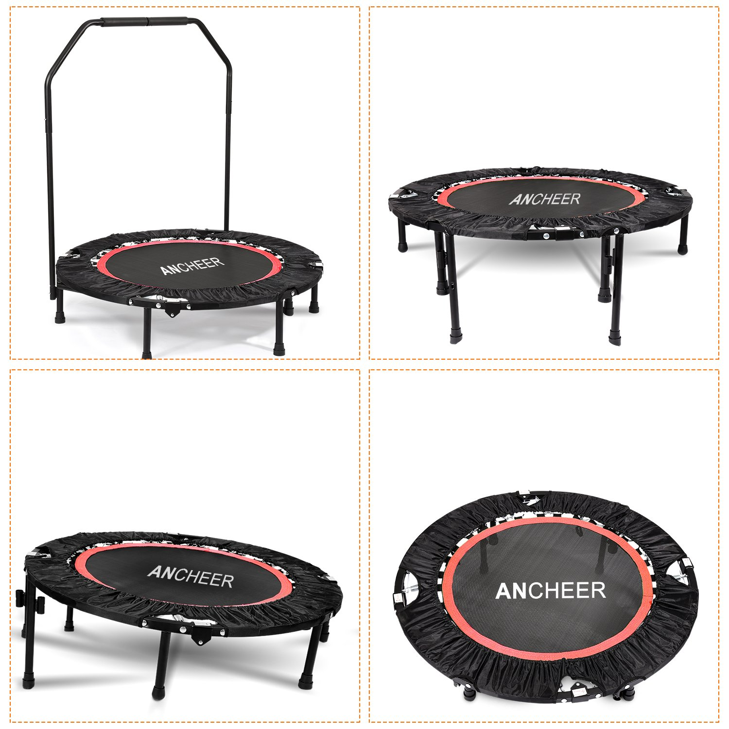 Ancheer Fitness Trampolin mit Griff Indoor Trampolin mit Stange Ideal für Fitness Heimtraining