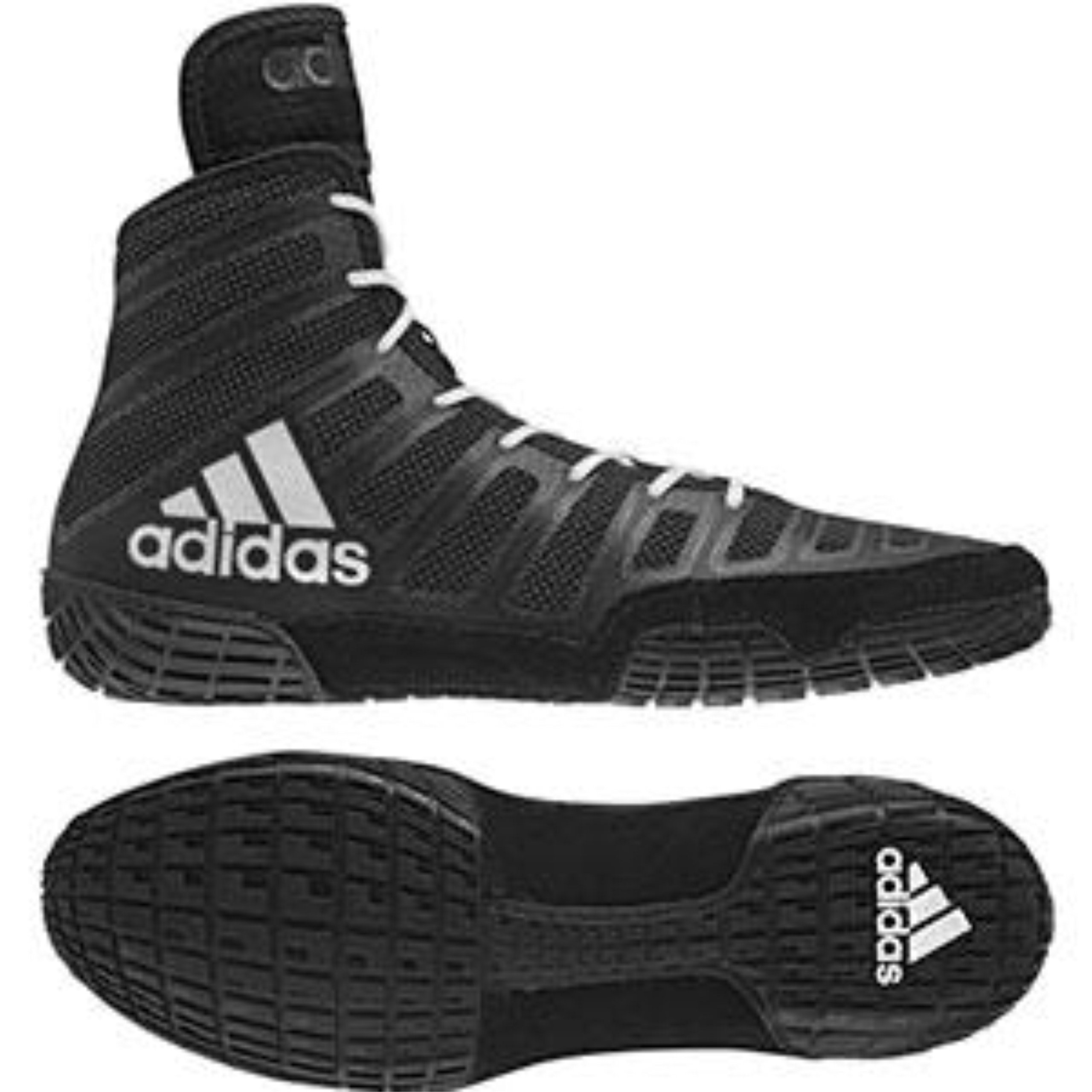 adidas adiZero Varner Mens Wrestling Shoes, Black/White/Black Size 10 by adidas