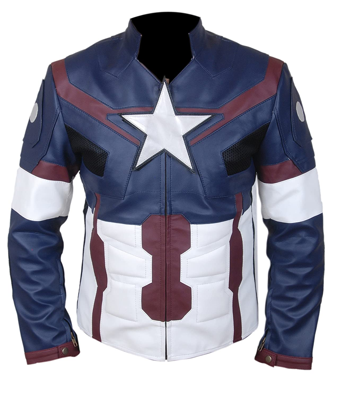 F & H Boy 's Avengers Age Of Ultron Captain America Genuineレザージャケット X-Large ブルー B06XRPMWW4