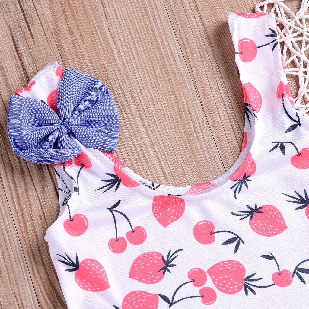 Toddler Baby Kids Girls Bikini Fruits Print Bowknot Beach Swimsuits Bathing Suits One Piece Romper for 0-4 Y Jchen TM