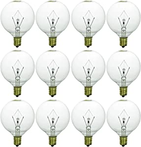 Sunlite 40148-SU 12-Pack G16.5 Globe Bulbs 15 Watts, Candelabra Base (E12), 120 Volt, Clear, Incandescent, Dimmable, 12 Pack, 32K - Warm White, 12
