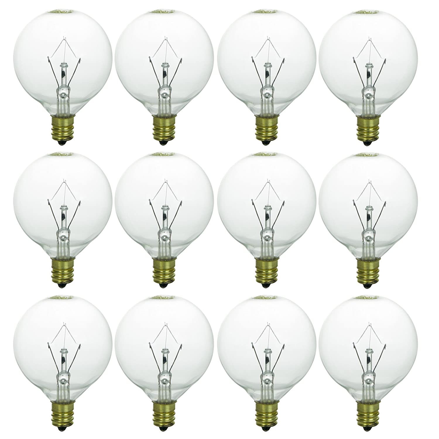 Sunlite 25G16.5/CL/12PK 01650-12-SU 25 Watts, Candelabra Base (E12), 120 Volt, Clear, Incandescent, Dimmable, 12 Pack, 32K - Warm White, 12 Bulbs