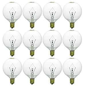 Sunlite 40163-SU 12-Pack G16.5 Globe Bulbs 60 Watts, Candelabra Base (E12), 120 Volt, Clear, Incandescent, Dimmable, 12 Pack, 32K - Warm White, 12