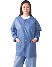Medline NONRP600M Multi-Layer Material Lab Jackets with Knit Cuff and Collar, Medium, Blue (Pack of 30)