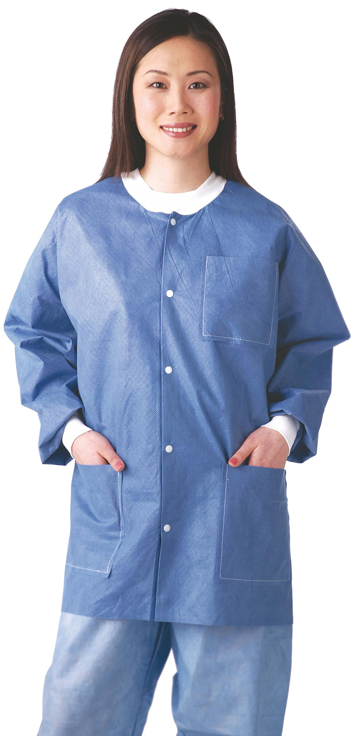 Medline NONRP600M Multi-Layer Material Lab Jackets with Knit Cuff and Collar, Medium, Blue (Pack of 30) by Medline (Image #1)