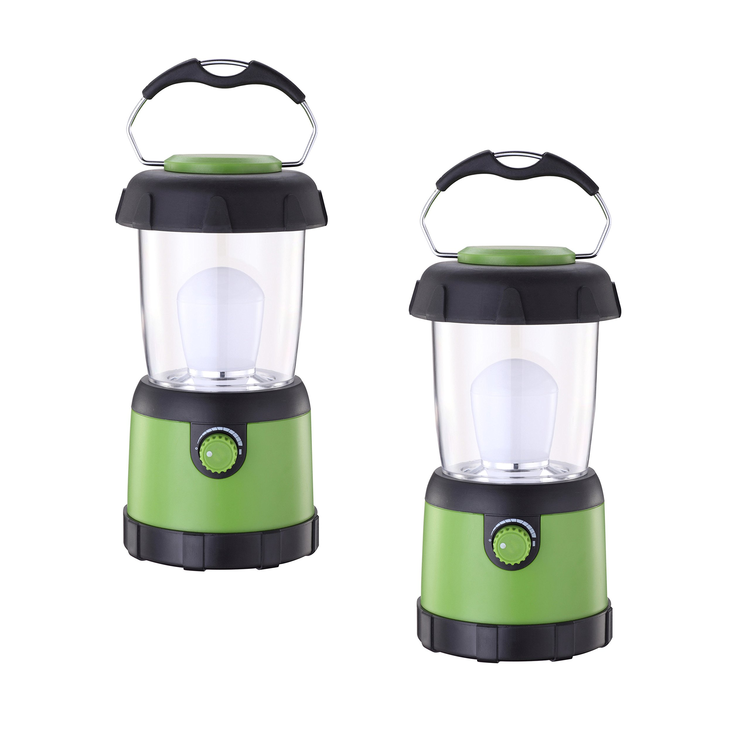 2 PACK Portable Green Camping Lantern Lights Waterproof Outdoor Camping Lantern Flashlight for Emergency, Hurricane, Outage(4AA Battery Powered) (Small-2pack)