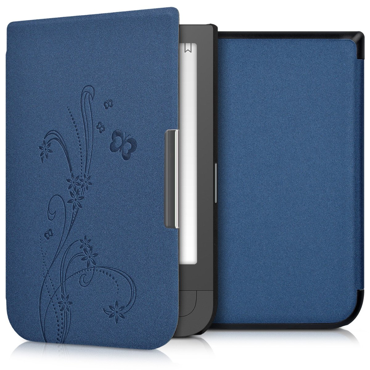kwmobile Elegant synthetic leather case for the Pocketbook Touch HD/Touch HD 2 Butterfly Tendril in dark blue