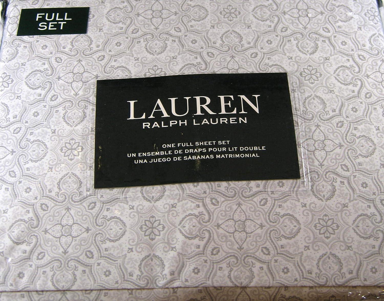 Lauren 4 Piece Full Size Medallion Floral Sheet Set Gray 100% Cotton