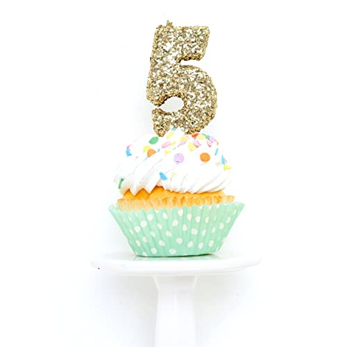 Number Five 5 3quot Gold Coarse Glitter Birthday Or Anniversary Cake And Cupcake