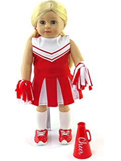 3704462cb99b Amazon.com  Doll Clothes Fit American Girl Doll - Red Cheerleader ...